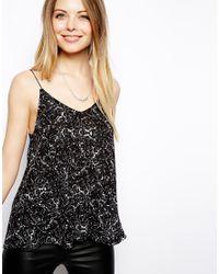 ASOS - Black Swing Cami Top in Cracked Print - Lyst