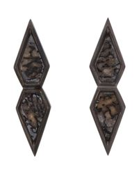 Monique Péan | Black Dinosaur Bone & White Gold Geometric Studs | Lyst