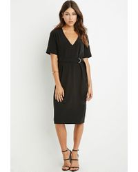 Forever 21 | Black Belted Midi Dress | Lyst