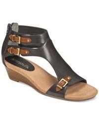 Aerosoles - Black Yet Another Wedge Sandals - Lyst