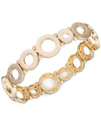 Anne Klein | Metallic Gold-tone Circle Stretch Bracelet | Lyst