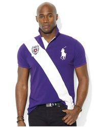 Polo Ralph Lauren Purple Big And Tall Diagonal-Stripe Polo for men