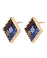 Lulu Frost Blue Gold-tone Petra Stud Earrings