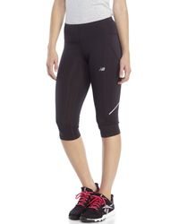 New Balance | Black Accelerate Performance Capri Pants | Lyst