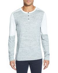 Vince - Blue Colorblock Long Sleeve Henley for Men - Lyst