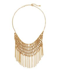 Lydell NYC - Metallic Fringe Crochet Bib Necklace - Lyst