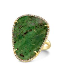 Anne Sisteron | Metallic 14kt Yellow Gold Blood Stone Diamond Organic Shape Cocktail Ring | Lyst
