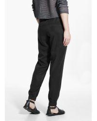 Mango Black Soft Baggy Trousers