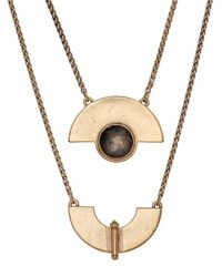 Lucky Brand | Metallic Goldtone Geo Labordorite Necklace | Lyst