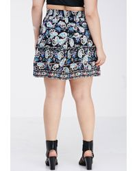Forever 21 - Blue Plus Size Pleated Paisley Print Skirt You've Been Added To The Waitlist - Lyst
