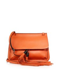 Gucci - Orange Bamboo Daily Leather Flap Shoulder Bag - Lyst