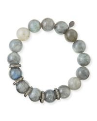 Sheryl Lowe | Metallic 12mm Labradorite & Diamond Rondelle Bracelet | Lyst