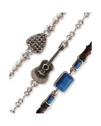Lucky Brand Silvertone Guitar Charm and Blue Stone Bracelet Trio