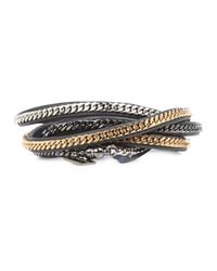Vita Fede | Gray Dark Grey Chain Embellished Multi-Wrap Bracelet | Lyst
