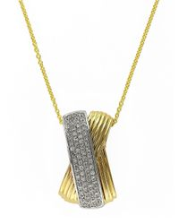 Effy - Metallic 14k Yellow And White Gold Diamond Pendant Necklace - Lyst
