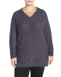Sejour | Gray 'happy' Eyelash Yarn V-neck Sweater | Lyst