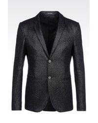Emporio Armani | Black Jacket In Raffia Mesh for Men | Lyst