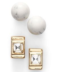 Anne Klein | Metallic Stud Earrings | Lyst