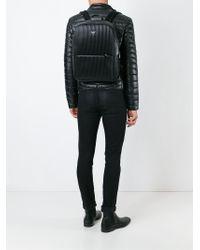 Emporio Armani Black Ribbed Backpack for men