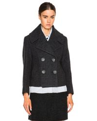 3.1 Phillip Lim Gray Trompe L'oeil Denim Jacket With Peacoat Shell
