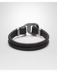 Bottega Veneta Black Nero Intrecciato Oxidized Silver Nappa Bracelet for men