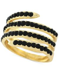 BCBGeneration | Metallic Gold-tone Jet Stone Coil Ring | Lyst