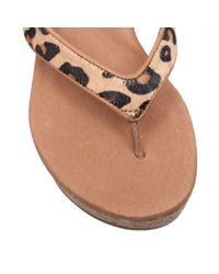 UGG Brown Natassia Wedge Heeled Toe Post Sandals