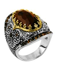 Konstantino | Metallic Sterling Silver Cognac Quartz & Citrine Ring With 18 Karat Gold | Lyst