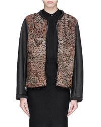 Hockley | Green 'skua' Swakara Fur Faux Leather Sleeve Bomber Jacket | Lyst