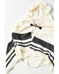 Urban Outfitters Black Blanket Stripe Toggle Poncho