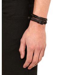 Valentino Black Leather Wraparound Bracelet for men