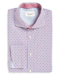 Ted Baker | Red 'yassy' Trim Fit Check Dress Shirt for Men | Lyst