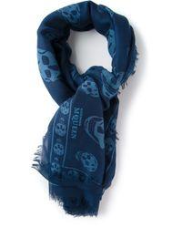 Alexander McQueen | Blue Skull Print Scarf | Lyst
