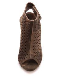 Pedro Garcia Brown Sofia Perforated Open Toe Booties - Gunmetal Camo
