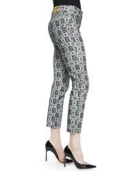 ESCADA - Black Floral Lace-print Cropped Jeans - Lyst