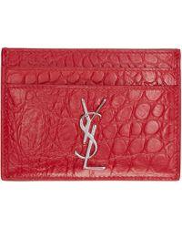 Saint Laurent Red Leather Monogram Card Holder