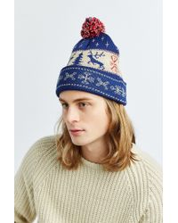 Urban Outfitters Blue Uo Reindeer Beanie for men