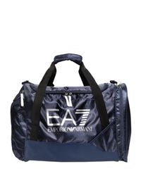 EA7 - Blue Nylon Canvas Duffle Bag - Lyst