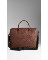 Burberry Brown Signature Grain Leather Briefcase for men