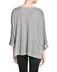 Mango - Gray Dolman Sleeve Pocket Tshirt - Lyst