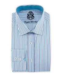 English Laundry - Blue Plaid Cotton Dress Shirt for Men - Lyst