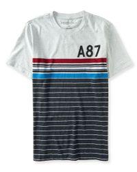 Aéropostale | Black A87 Thin Stripe Logo Graphic T | Lyst