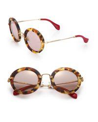 Miu Miu - Brown 49mm Round Sunglasses - Lyst