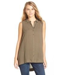 Lush | Green Button Front Sleeveless Tunic | Lyst
