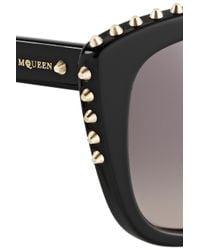 Alexander McQueen Black Studded Cat Eye Acetate Sunglasses