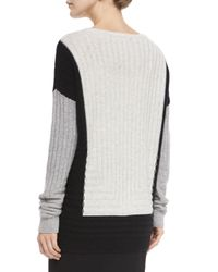 VINCE | Black Colorblock Crewneck Sweater | Lyst