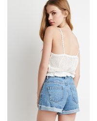 Forever 21 - Natural Crocheted Cami Crop Top - Lyst