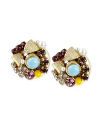 Betsey Johnson | Metallic Goldtone Bow and Crystal Cluster Round Stud Earrings | Lyst