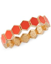 French Connection | Orange Gold-tone Hexagon Tile Stretch Bracelet | Lyst