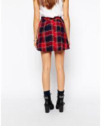 Glamorous Red Plaid Mini Skirt